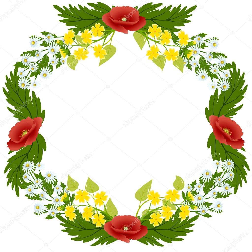 Wreath poppies, daisies, buttercups