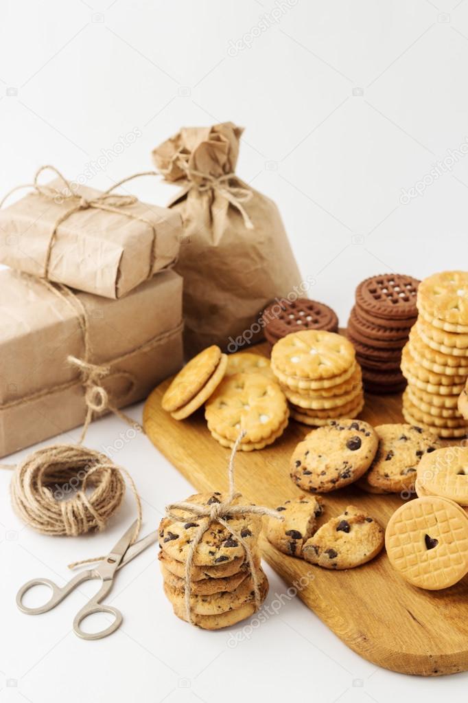 Urlaub. Weihnachten und Neujahr. Hausgemachte Kekse für Geschenke ...