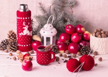 Christmas decorations - cookies, apples, spices, mulled wine. Co