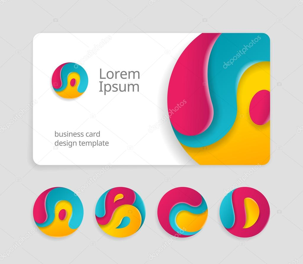 Business Card Template With Round Logotype Stock Vector - Round business card template