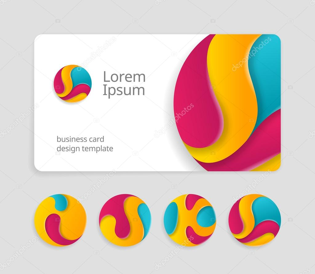 Business card template with round logotype stock vector business card template with round abstract letters logotype trendy color logo design fancy logo abstract letters on visit card template friedricerecipe Image collections
