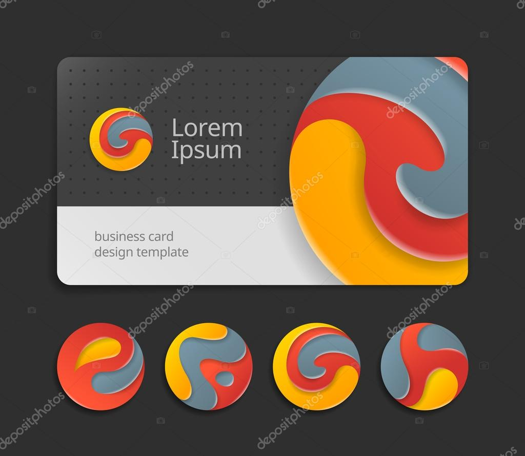 Business card template with round logotype vetores de stock trendy color logo design fancy logo abstract letters on visit card template card design template of stylized logo alphabet reheart Gallery