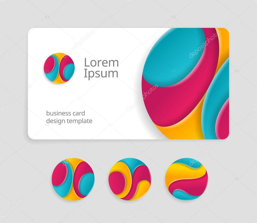 Business card template with round logotype stock vector business card template with round abstract letters logotype trendy color logo design fancy logo abstract letters on visit card template fbccfo Image collections