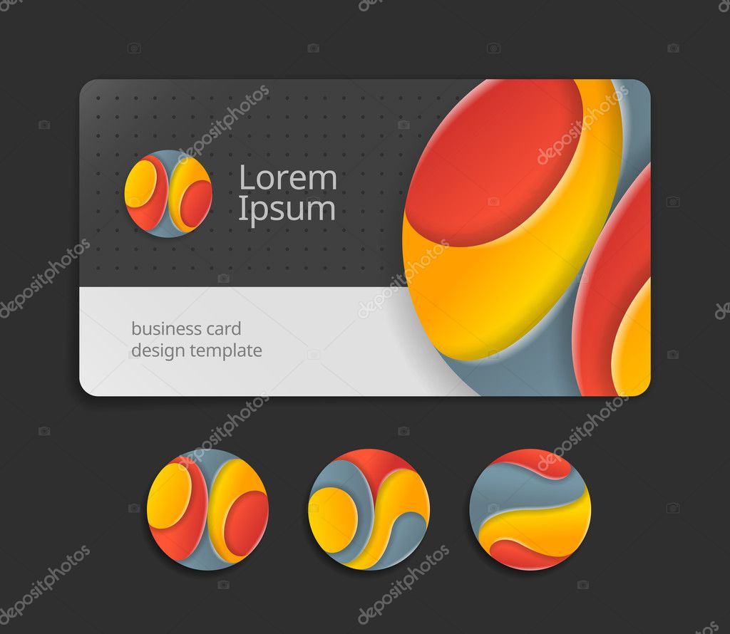 business card template with round logotype stock vector