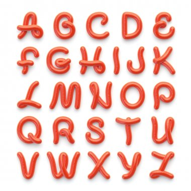 Alphabet with letters on white