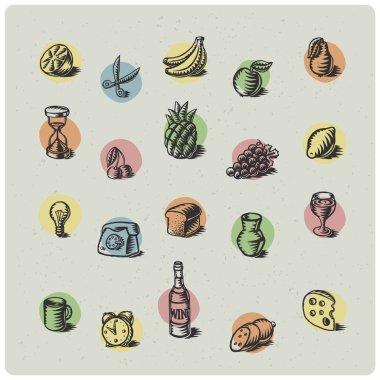 """Картина, постер, плакат, фотообои """"фруктовые символы установлены"""", артикул 69604005"""