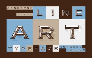 Diagonal lines beveled vintage font