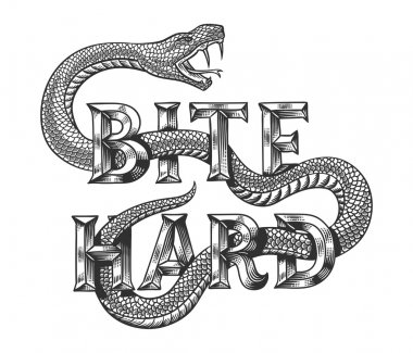 Snake with engraved slogan