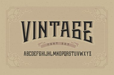 Vintage font set on cardboard texture