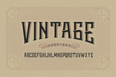 Vintage font set on cardboard texture vector background with decorative ornate frame stock vector