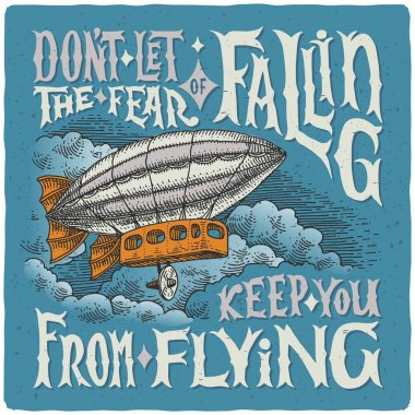 Graphic poster with airship