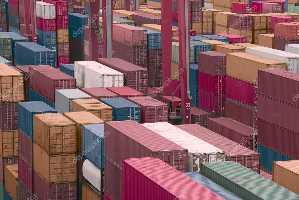 Containers in a Cargo freight Shipyard