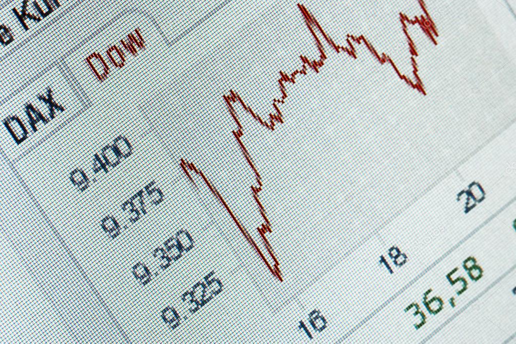 Nahaufnahme von einem positiven finanziellen Börse-Diagramm ...