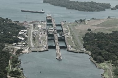 Cargo ships passing through Gatun Locks on the Atlantic side of the Panama Canal