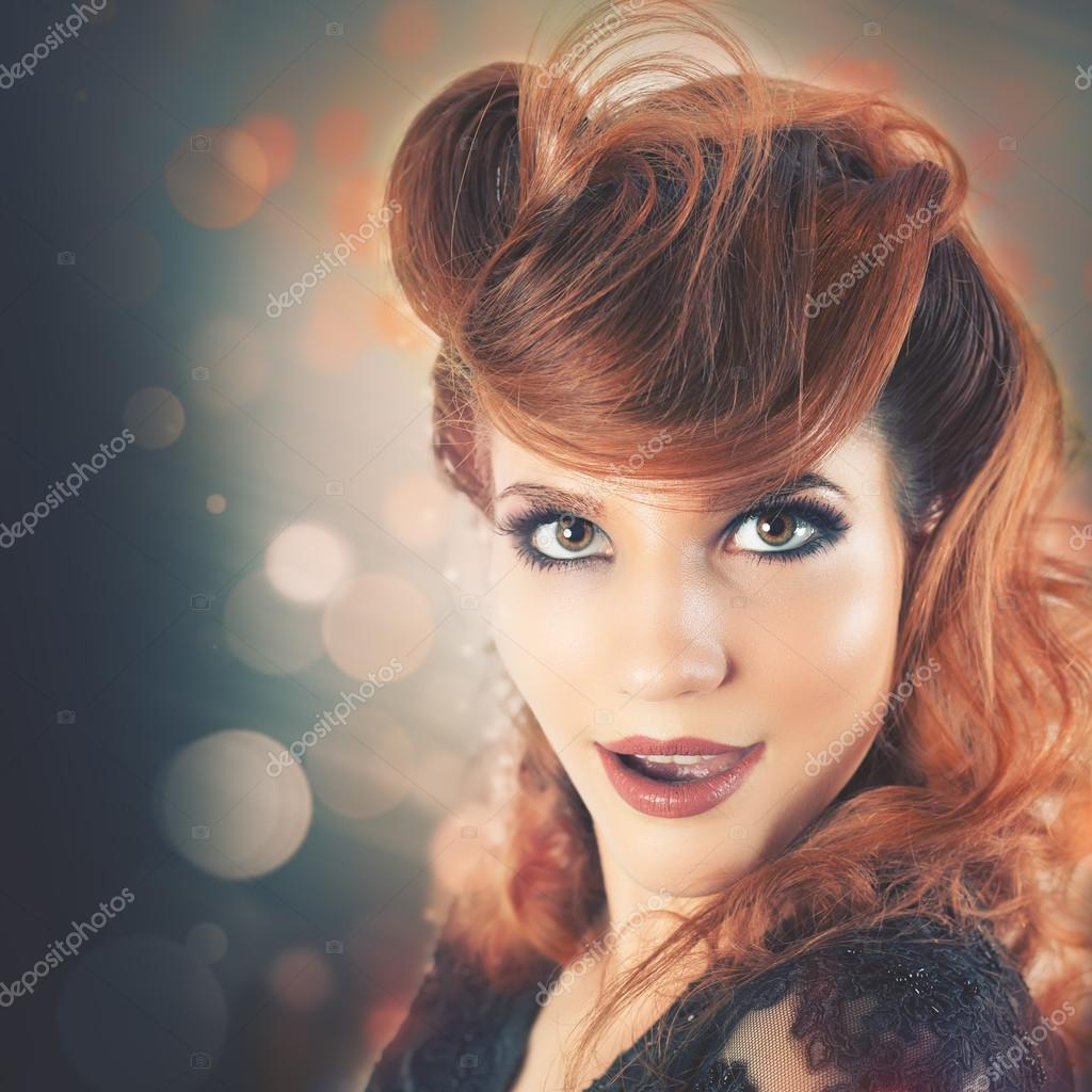 Surprised Fashion Woman With Fancy Hairstyle Stock Photo