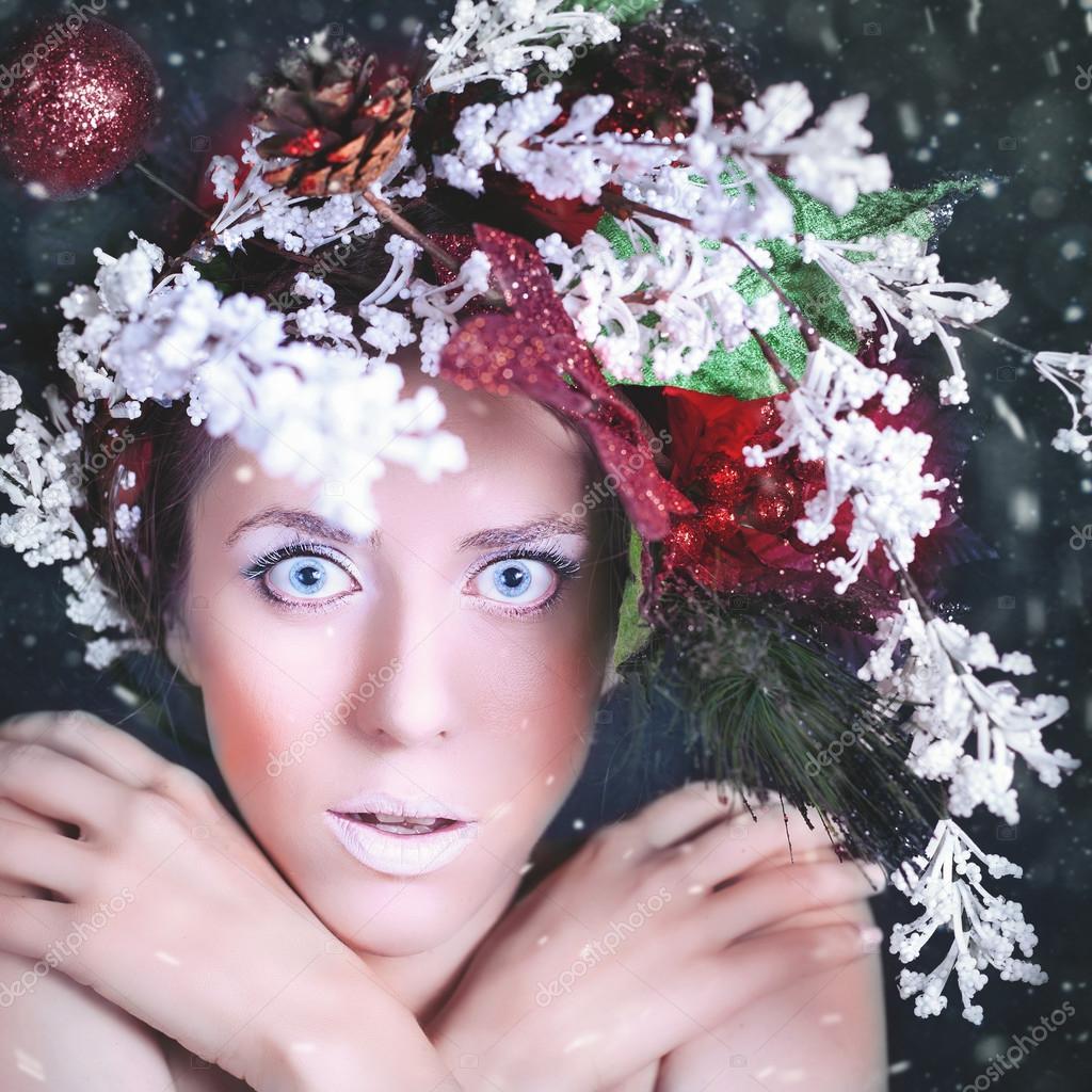 Прическа и макияж: зима