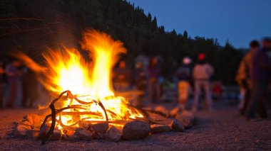 Campfire in the mountains.