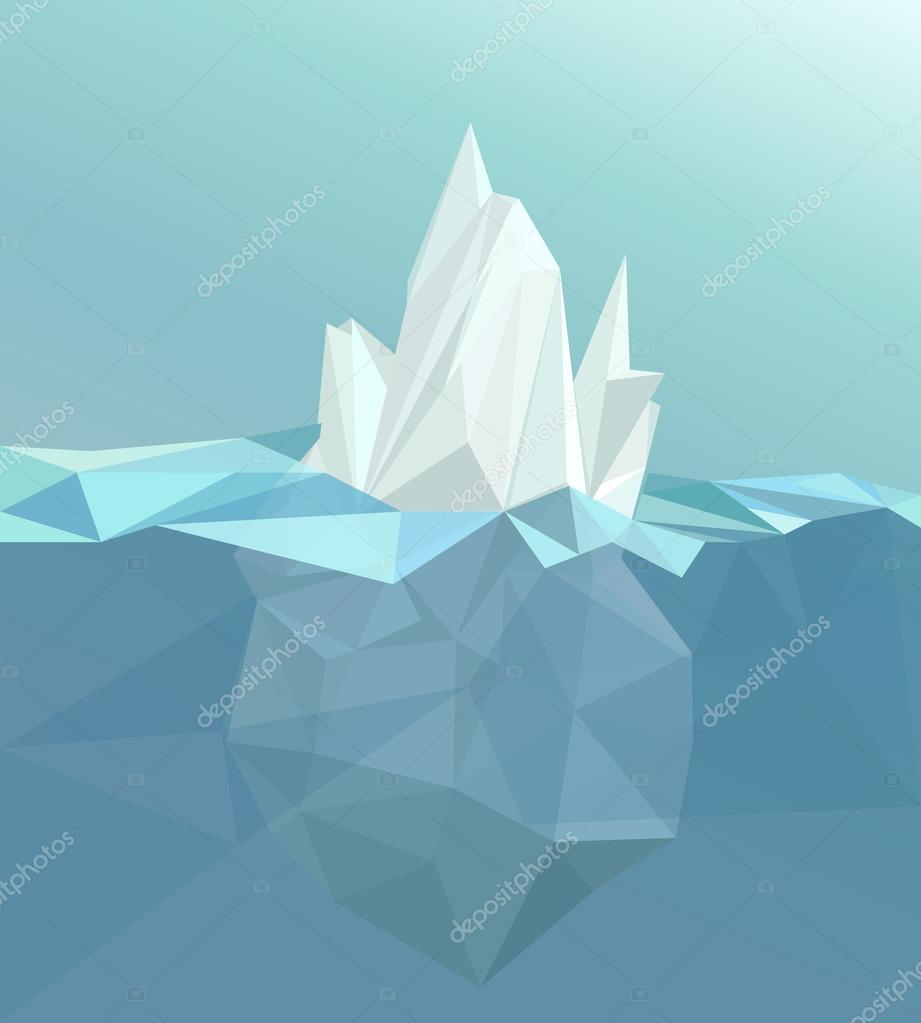 Polygonal iceberg, glacier landscape, vector illustration