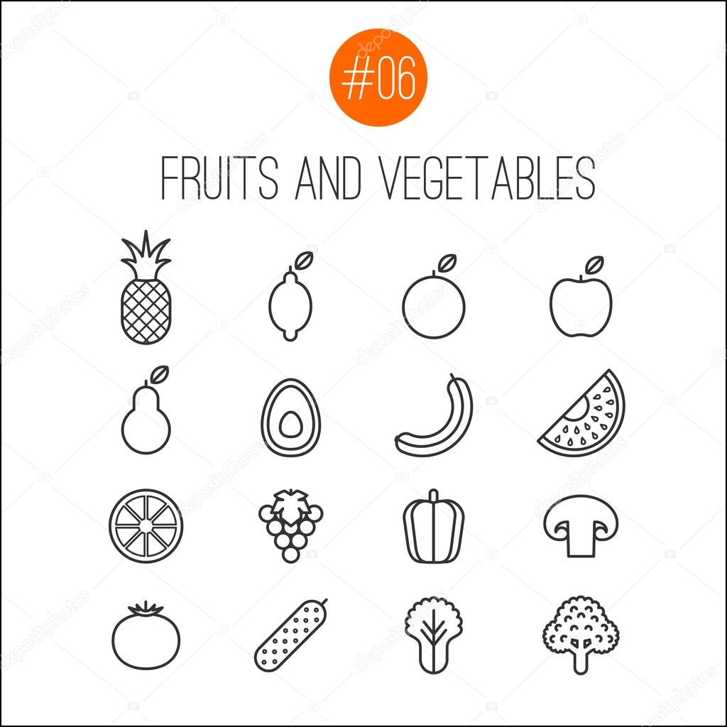 Fruits and vegetable line icons collection