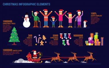 Christmas infographic elements in flat style.