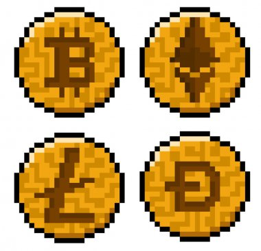 Pixel cryptocurrency pack - Bitcoin, Ethereum, Litecoin and Dogecoin icon