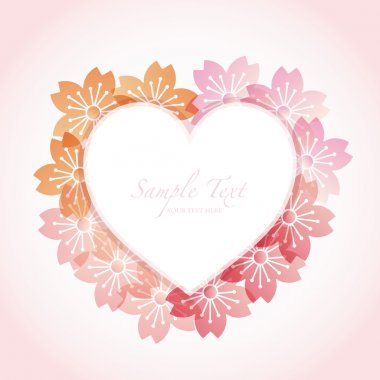 Heart frame with cherry blossom