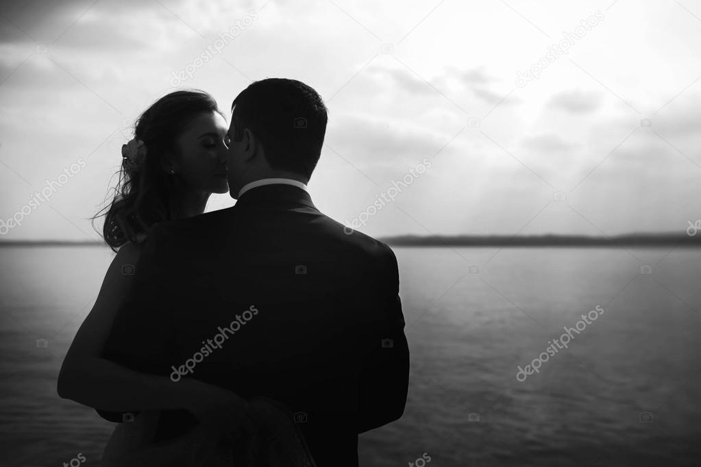 beautiful gentle happy couple kissing