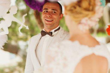 bride  and stylish groom