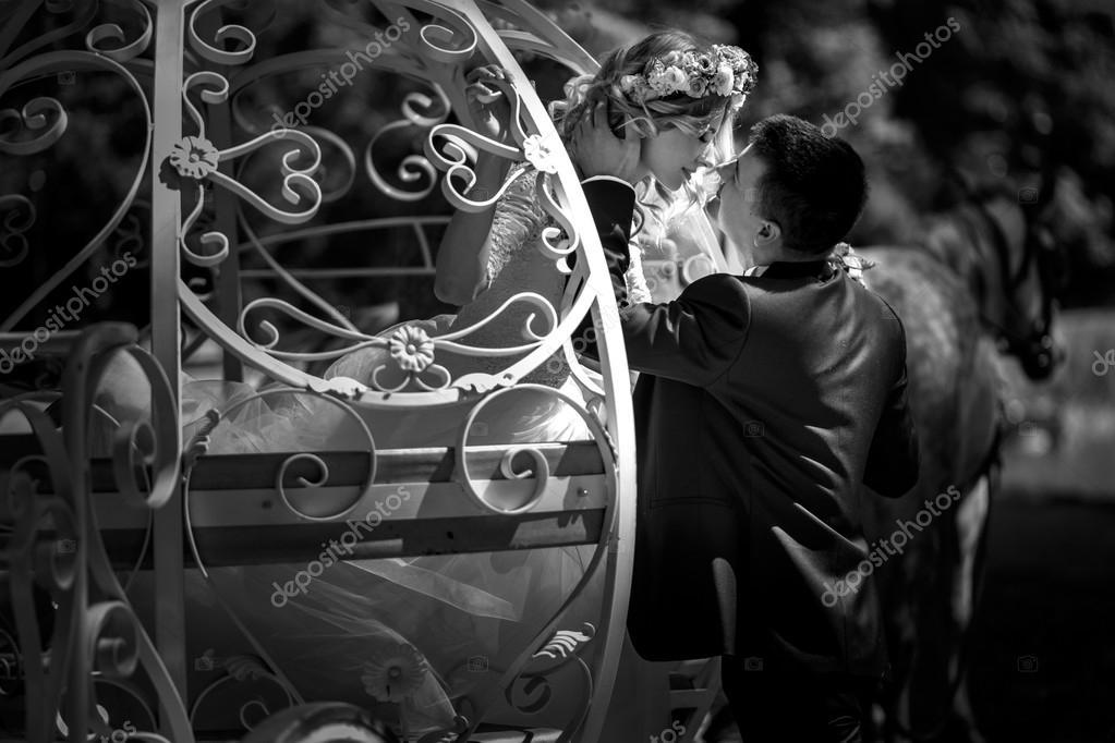 Romantic fairy-tale wedding couple