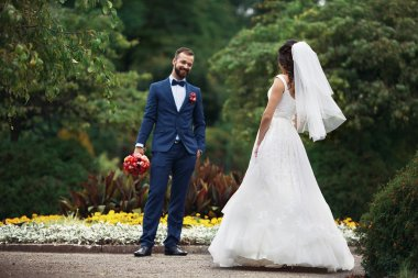 Elegant happy bride and groom