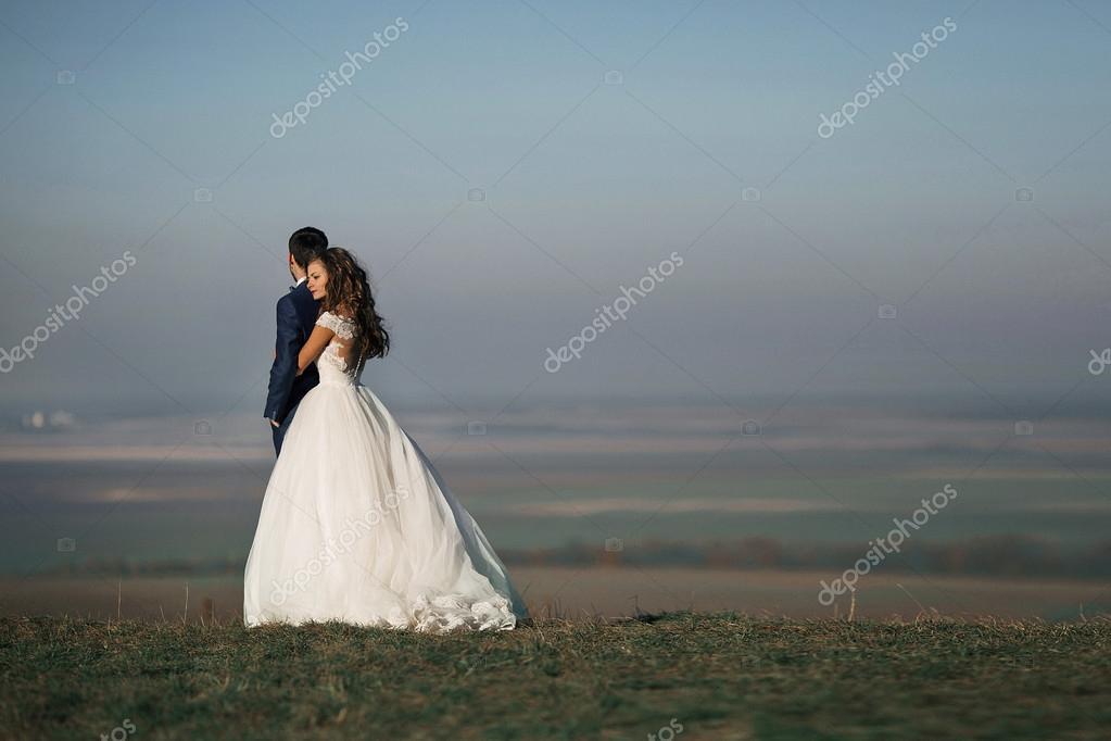 Emotional beautiful bride