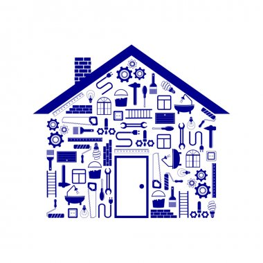 house in the form of tools to repair in blue