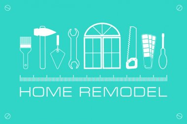 Vector logo home remodel. Set icons of tools for repair and construction.