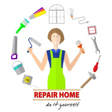 Logo house remodel service,  tools to repair , design of  banners with tools to repair , the inscription repair home, do it yourself
