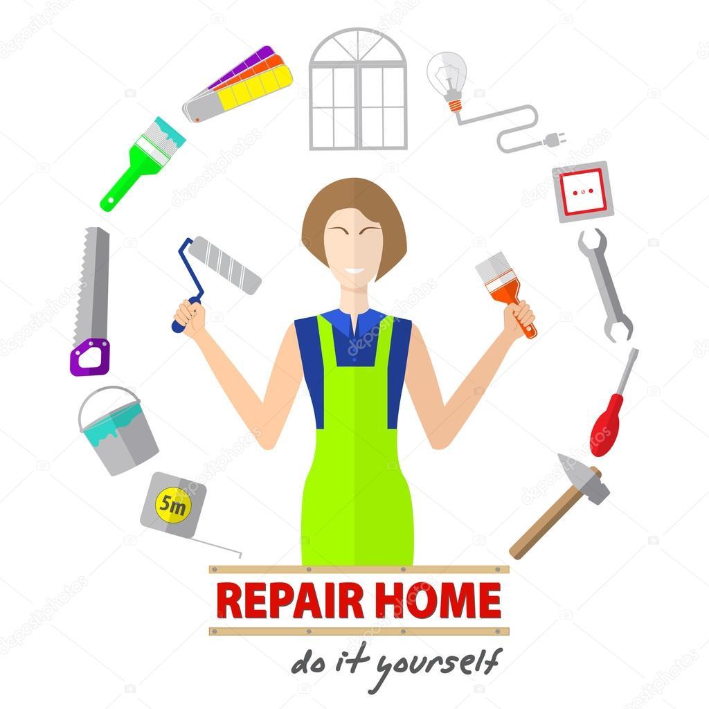 logo haus umgestalten service, werkzeuge, reparatur, gestaltung von
