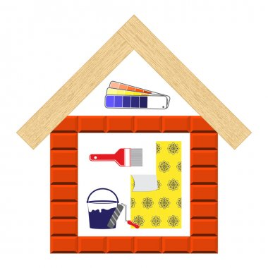 House remodel tools.  Tools for finishing works. Flat style tools for building, remodel and repair, finishing work, home repair icon.