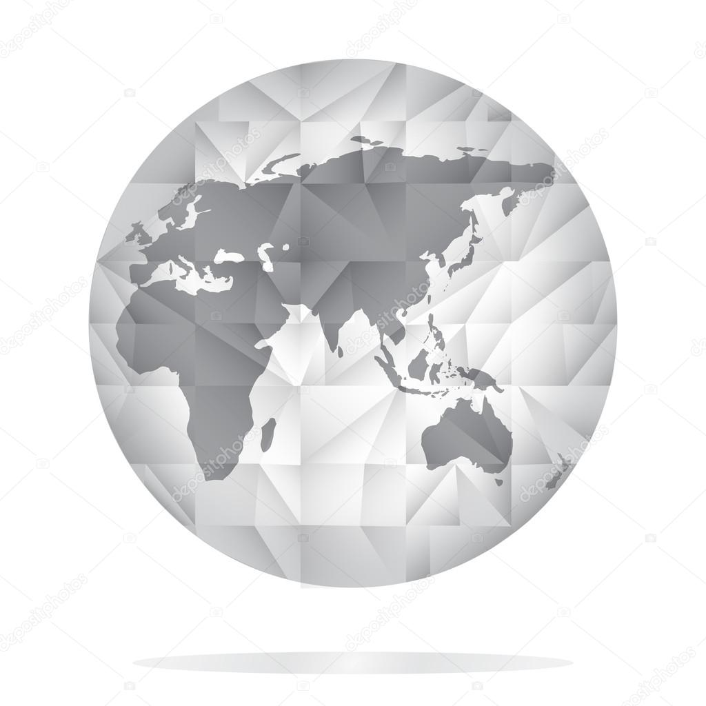 Globe icon in grey color world map background in polygonal style globe icon in grey color world map background in polygonal style stock vector gumiabroncs Gallery