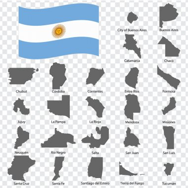 Twenty four Maps  Provinces of Argentina - alphabetical order with name. Every single map of Province are listed and isolated with wordings and titles. Argentine Republic. EPS 10.