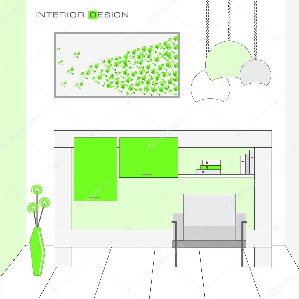 Innenarchitektur Wohnzimmer im einfachen Stil — Stockvektor ...