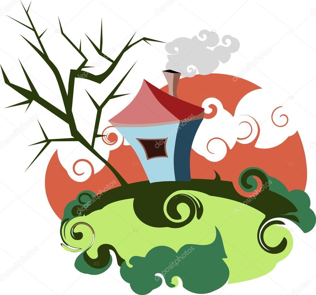 Casa vivacemente colorata, casa stilizzata su una radura ...