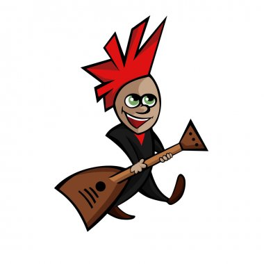 a flat image of a small rocker with guitar