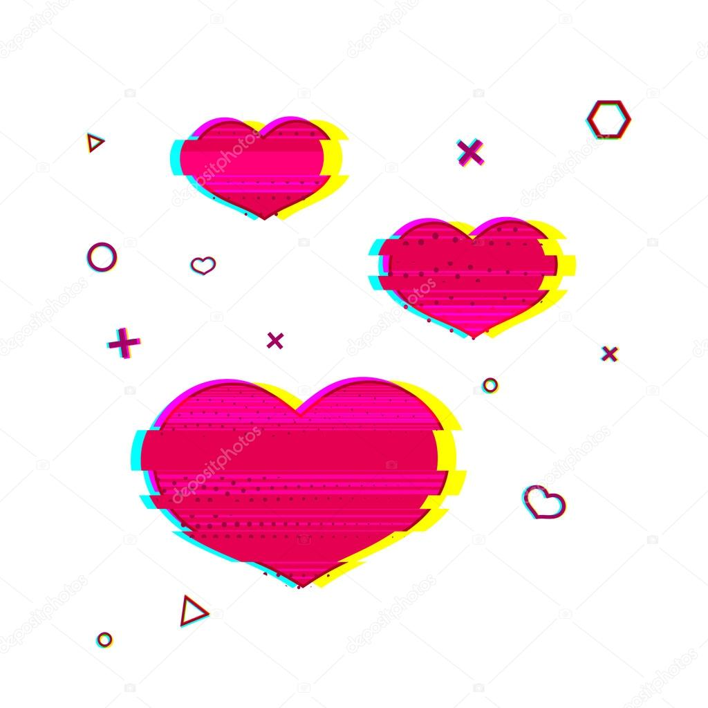 Glitch Romantic Heart Symbols Uniyok