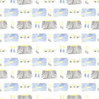 Watercolor pattern of evening accessories in blue and black