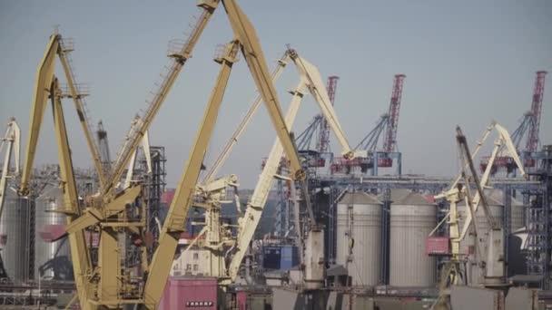 Panoramatický výhled na sklad v přístavu, popředí jeřábů nakládajících náklad k přepravě za letního slunečného dne. Tématem je ekonomika státu a logistika, život po moři.