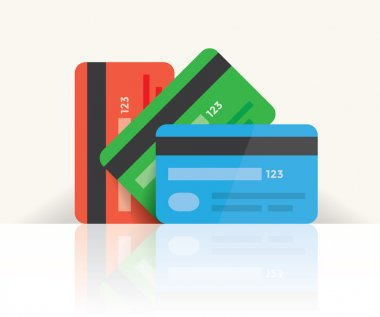 Multi colored credit cards