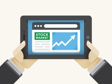 Market (New York Stock Exchange) information growth graph in Businessman or trader holding hands on tablet computer. Concepts: Wall street, trading, success, finance career, online business magazines