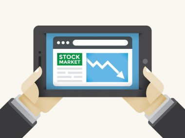 New York Stock Exchange market information recession graph in Businessman or trader holding hands on tablet computer. Concepts: Wall street, trading, economy financial crisis, online business magazine