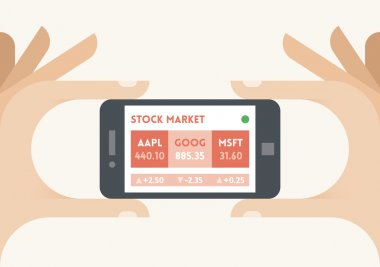Mobile smartphone with US stock market company shares finance indices (Apple, Google, Microsoft) ticker in businessman hands. Concepts: trading technologies, analysis, applications, programs, traders, apps, selling, buying