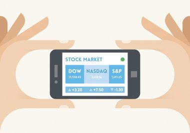 Mobile smartphone with US stock market indices (Dow Jones, NASDAQ and S&P) ticker in businessman hands. Concepts: trading technologies, analysis, applications, programs, traders, apps, selling, buying