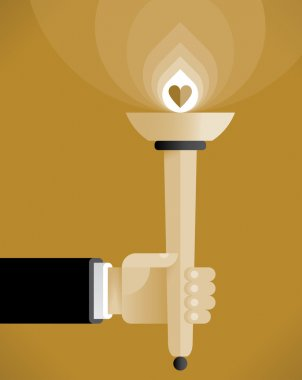 Human hand with abstract torch with lightning heart - symbol of love. Vintage style illustration. Idea - Spreading Love and Peace, Sharing Love. clip art vector
